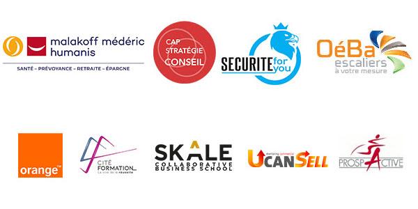Logos des entreprises partenaires de la soirée
